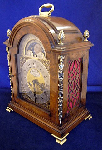 18th-century-style walnut-cased bracket clock - angle