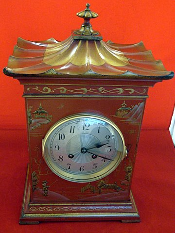 Click here to see more detail of a 1930s mantel clock in pagoda chinoiserie style