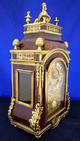 19th century French Religious Boulle bracket clock - angle