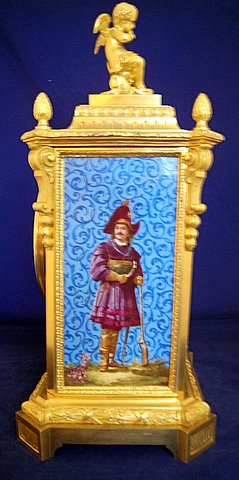 19th century French gilt ormolu mantel clock painted porcelain panels - side panel man