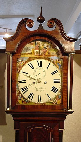 19th century Scottish longcase mahogany inlaid case - head