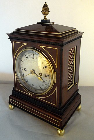 19th century bracket clock Arthur Henry Rowley London - angle