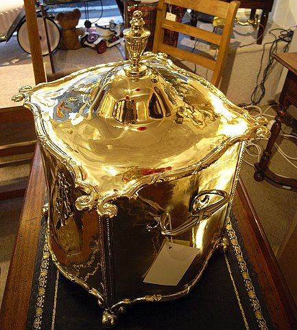 19th century brass bombe fronted coal purdonium - above