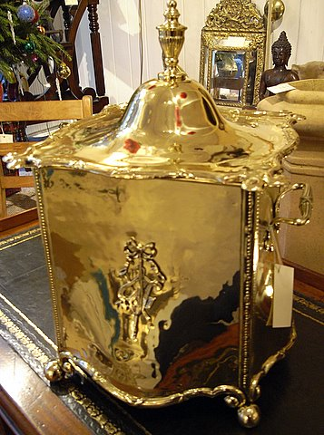 19th century brass bombe fronted coal purdonium