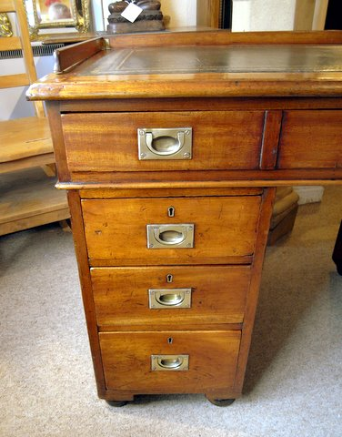 19th century mahogany campaign desk - drawers