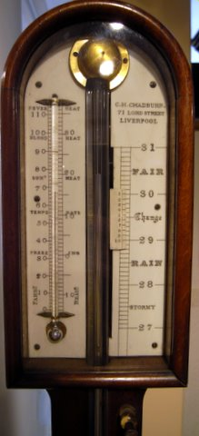 Click here to see more detail of a 19th century mahogany stick barometer by Chadburn of Liverpool