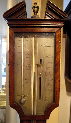 19th century stick barometer Geo Flote Islington - head