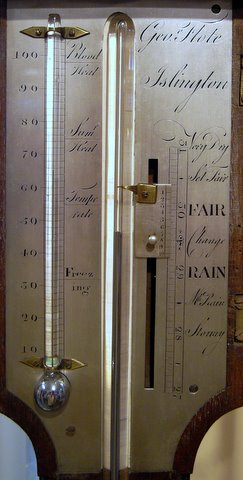 19th century stick barometer Geo Flote Islington - measurements