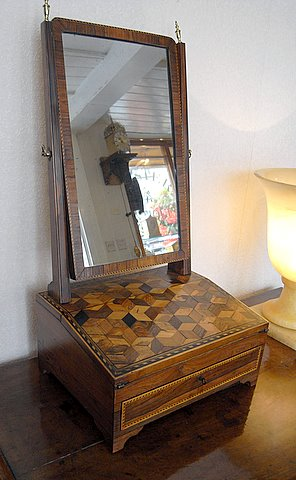 Click here to see more detail of a 19th century toilet mirror