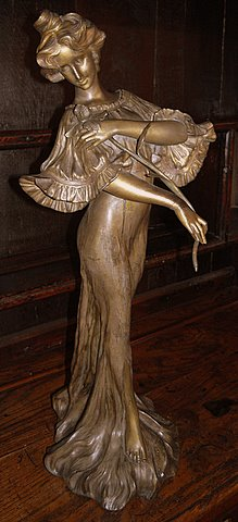 Click here to see more detail of an Art Nouveau spelter figure Iris