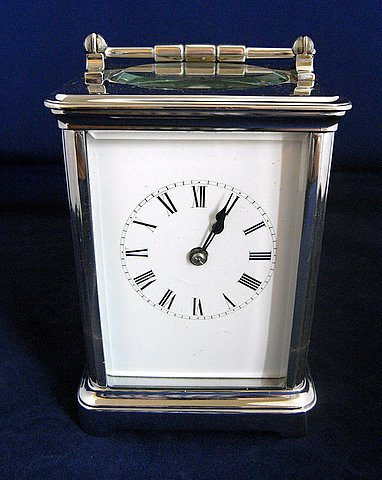 Click here to see more detail of an early 20th century French nickel plated carriage clock