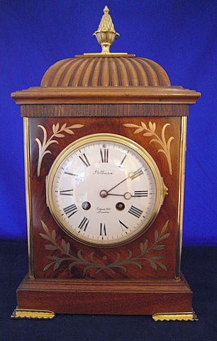 Click here to see more detail of an Edwardian mahogany bracket clock by Benson of London