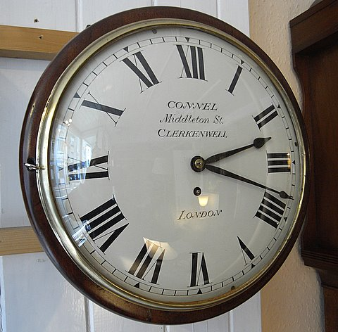 Click here to see more detail of an English dial clock by Connel of Clerkenwell