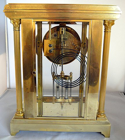 Four glass Japy Freres mantel clock Brocot escapement - rear