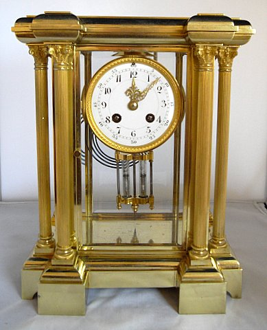 Click here to see more detail of a four glass Japy Freres mantel clock with Brocot escapement