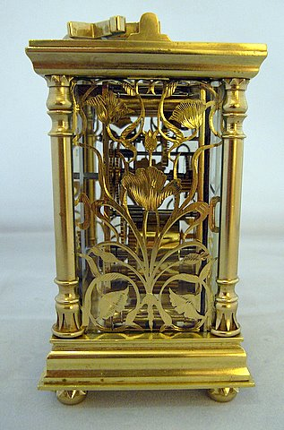 French Art Nouveau carriage clock - side