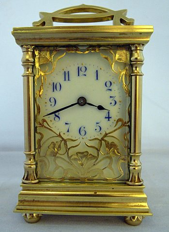 Click here to see more detail of a French Art Nouveau carriage clock