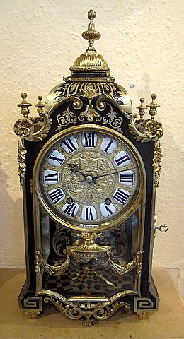 Click here to see more detail of a French boulle mantel clock in Louis XIV style