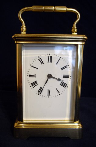 Click here to see more detail of a French carriage clock circa 1900 with gong strike