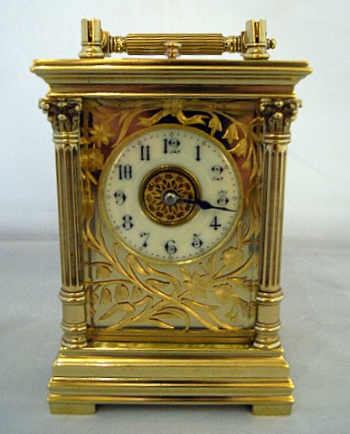 Click here to see more detail of a French carriage clock in column case