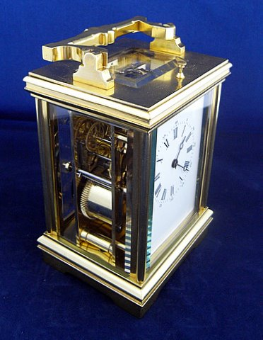 French carriage clock two train eight day - angle