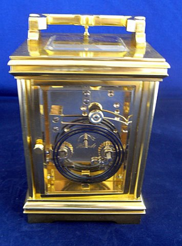French carriage clock two train eight day - rear