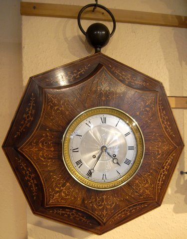 French wall clock rosewood inlaid octagonal case