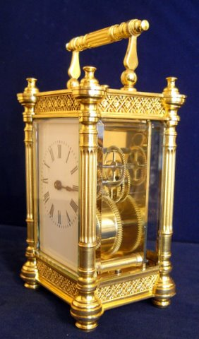 Gilt brass cased carriage clock - side