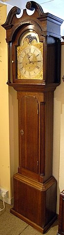 Click here to see more detail of a late 18th century oak longcase by Grindall of Dumfries