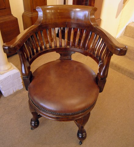 Mahogany Edwardian captains swivel chair - from above