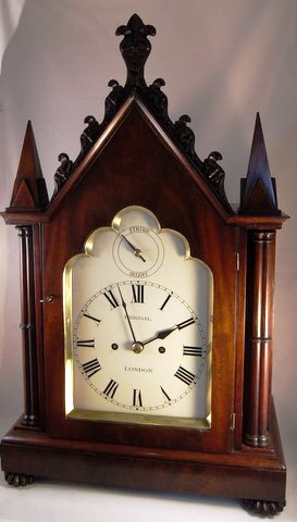 Click here to see more detail of a mahogany English bracket clock in the Gothic style by Perigal of London