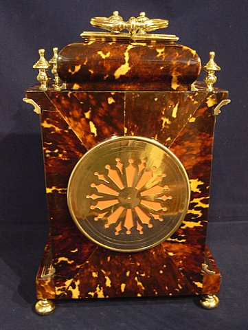 Tortoiseshell bracket clock - rear