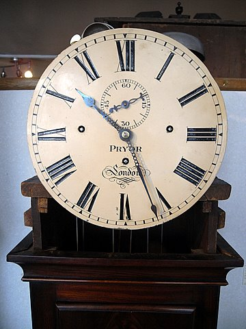 William IV mahogany musical longcase - dial