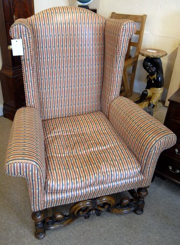 Click here to see more detail of a William and Mary wing back chair